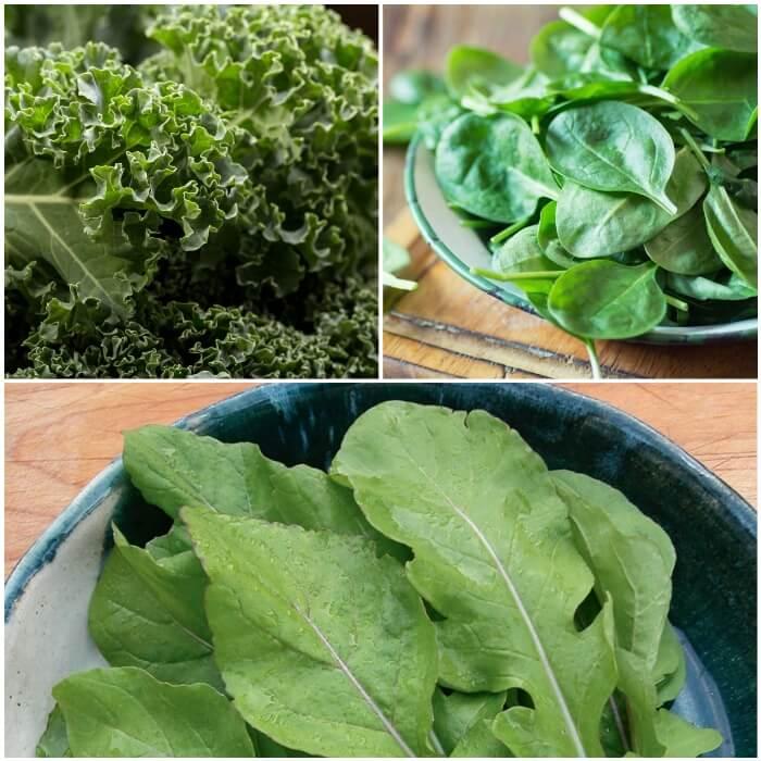 Verduras de hoja verde para perros