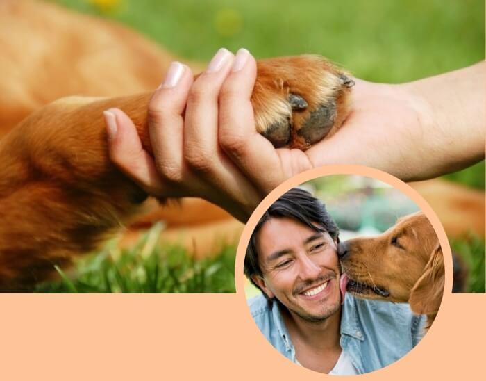 perro lamiendo la cara de su dueño