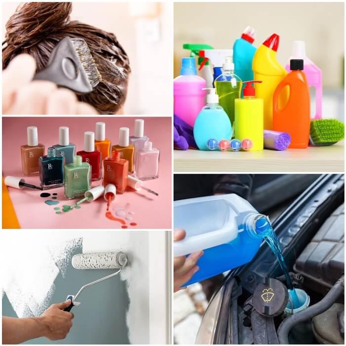 productos venenosos de limpieza, belleza y decoración